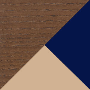 Walnut, Beige fabric & Blue PVC